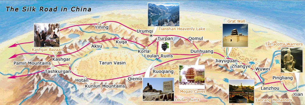 The Silk Road China Travel Maps, Tourist Map of Silk Road China, The ...